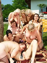 A very special old and young lesbian gang bang