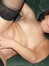 Granny Paula in sexy black nylon gets her bushy pussy drilled hard and her wrinkled face jizzed