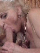 Horny granny Ursula takes all of her clothes off and gives her lover a wild blowjob live