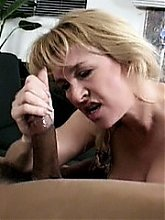 Blonde gilf Sierra Vista does her best to suck a supersized cock and later gets her cooter stretched