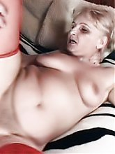 Dirty grandma Ursula gives her fuck buddy a memorable blowjob and gets her pussy fingered then fucked