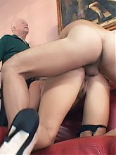 Beautiful blonde wife Chelsie gets her long time fantasy of doing two grateful guys on film