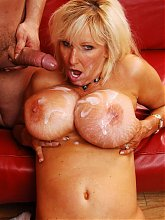 Tia Gunn gives a younger guys cock a ride and surrenders her big tits for a glazing live