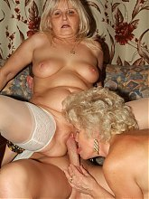 Francesca and Erlene are horny elder ladies double teaming in sucking and fucking live